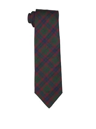 Valentino Men's Plaid Tie, Dark Green/Red