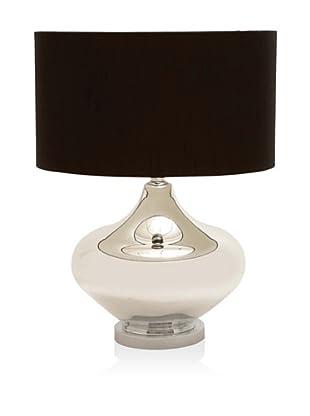UMA Glass/Metal Table Lamp, Silver/Black, Short