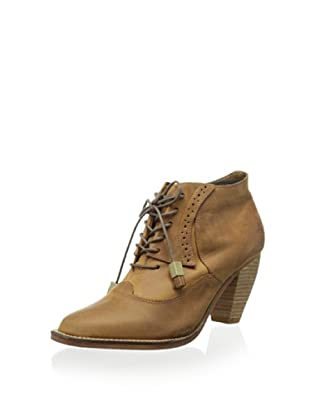 J Shoes Women's Sidesaddle Lace Up Ankle Bootie (Mid Brown)