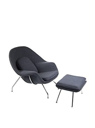 Manhattan Living Womb Chair & Ottoman Set, Dark Gray