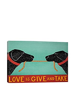 Stephen Huneck Love Is Black Gallery Wrapped Canvas Print