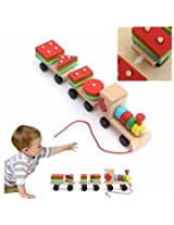 Baby Kid Train Wooden Development Early Educational Combination Shape Matching Toys