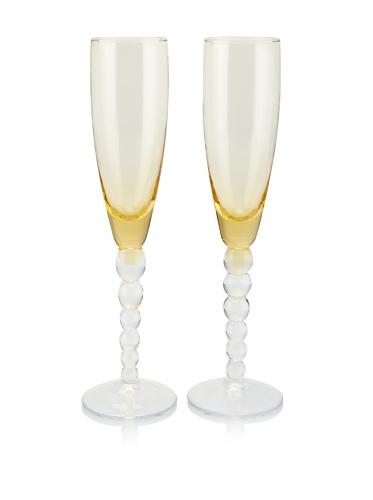 Villa d'Este Set of 2 Champagne Flutes (Amber)