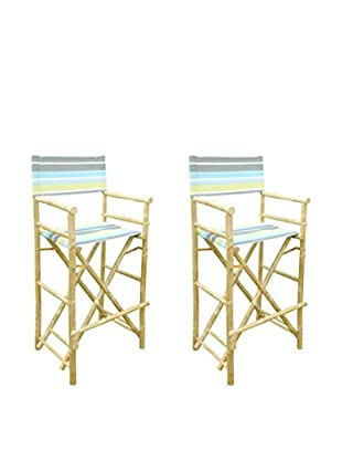 ZEW, Inc. Set of 2 Bamboo High Director Chairs, Green Stripes