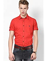 Solid Red Casual Shirt Mufti