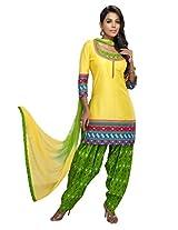 Charu Boutique Women's Cotton Patiyala Suit(Yellow Green_XL)