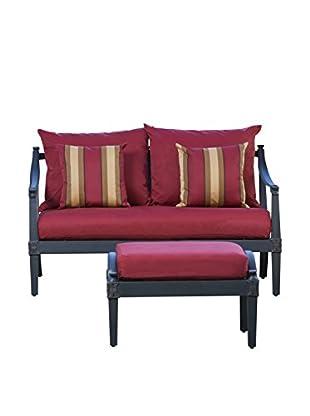 RST Brands Astoria Loveseat & Ottoman, Red
