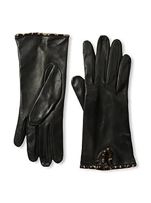 Portolano Women's Silk-Lined Leather Glove with Haircalf Trim (Black/Mini Leopard)