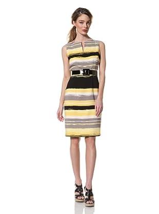 Chetta B Women's Sleeveless Print Dress with Belt (Yellow/Black)