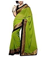 Rajlaxmi Women's Georgette Saree (Green)