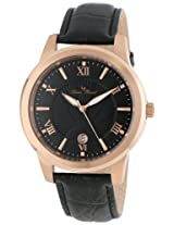 Lucien Piccard Men's LP-10046-RG-01  Black Textured Dial Black Leather Watch