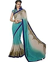Sapphire Fashions Women's Off-White Chiffon Saree