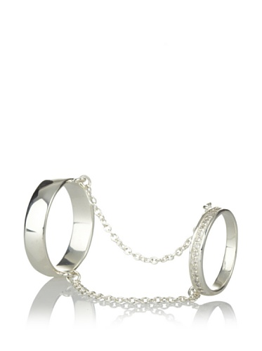 Made Her Think Double-Band Chain Half Pave Ring (Silver/Diamonds)