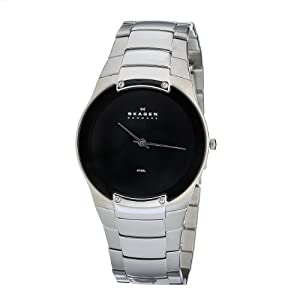 Skagen Men's 861XLSXB Skagen Denmark Silver Steel Link & Black Dial Watch