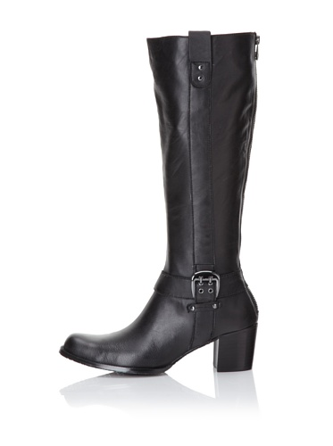 Adrienne Vittadini Women's Holt Leather Riding Boot (Black)