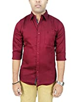 AA' Southbay Men's Maroon Netted Linen Long Sleeve Solid Casual Party Shirt