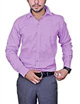 Mc-John Mens Linen Formal Shirt -Purple -Medium