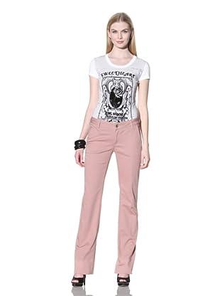LOVE Moschino Women's Twill Bootcut Pants (Powder Pink)