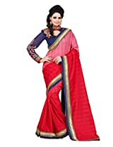 Zoom Beautiful Red Shadded Pattern with Heavy Embroidered work Saree
