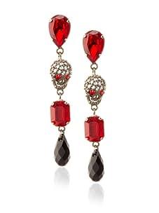 Joanna Laura Constantine Gunmetal/Red/Black Skull Dangle Earrings