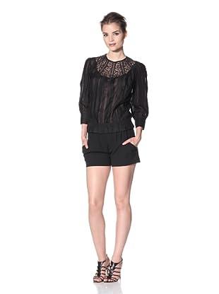 Nina Ricci Women's Cropped Sleeve Blouse (Black)