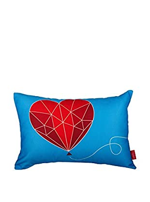 Best seller living Kissen Follow Your Heart rot/blau/weiß