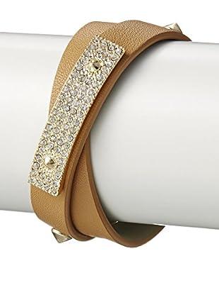 Fragments Camel Double Wrap Pavé ID Bracelet