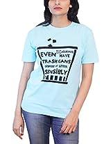 THESMO Women's Round Neck Cotton T-Shirt, Blue, XL