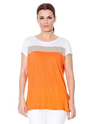 Cortefiel T-Shirt Streifen (orange/grau/weiß)