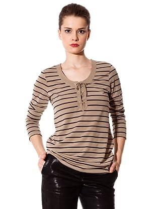 Naf Naf Camiseta Cordón (marrón / negro)