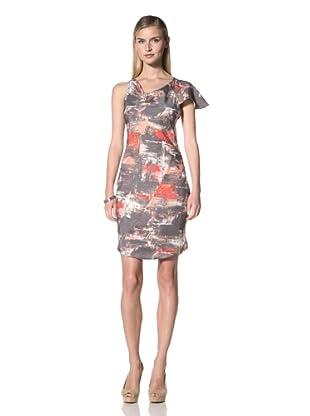 Poleci Women's Asymmetrical Shoulder Dress (Paint Scatter)