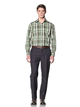 Perry Ellis Men's Exploded Ombre Plaid Shirt (Dill)