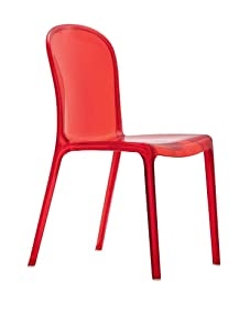 Zuo Set of 4 Gumdrop Stacking Outdoor Dining Chairs (Transparent Red)