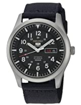 Seiko Mens SNZG15 Seiko 5 Automatic Black Dial Nylon Strap Watch