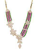 Lucky Jewellery Rani Green Alloy Chain Crystal Necklace Set for Women (964-TSC-RG)