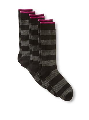 2xist Men's Waffle Rugby Stripe Crew Socks - 3 Pack (Black)