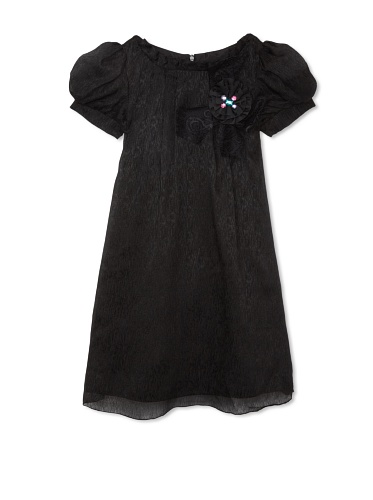 Blush by US Angels Girl's Short Sleeve Dress with Applique (Black)