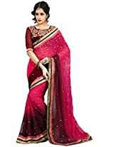 Manvaa pink georgette embroidered casual saree