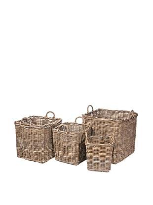 Skalny Set of 4 Rattan Storage Square Baskets