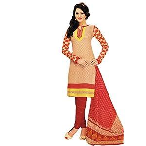 Salwar Studio Unstitched Salwar Kameez - Fawn & Red