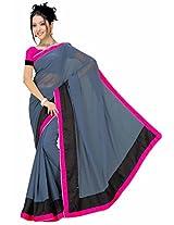 Somya Women's Semi Chiffon Grey Saree