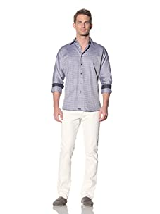 XMI Men's Box Check Yarn Dye Button-Front Shirt (Navy)