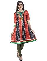 Zovi Cotton Orange And Black Printed Anarkali Kurti With Embroidery (10706352901_XS)