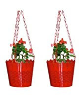 SGS 6.5 Inch Elegent Lace Finish Hanging Planter Set of 2 - (Red)