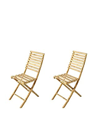 ZEW, Inc. Set of 2 Small Bamboo Collapsible Chairs, Natural