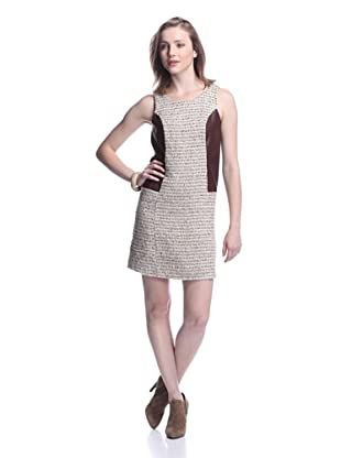 JB by Julie Brown Women's Tweed Dress with Leather Trim (Tan/Brown)