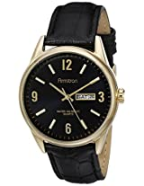 Armitron Men's 20/5048BKGPBK Day/Date Function Dial Black Leather Strap Watch