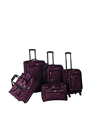 American Flyer Astor 5-Piece Spinner Luggage Set, Black/Purple