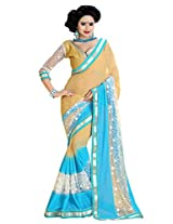 Ishin Georgette Blue & Beige Embellished Saree
