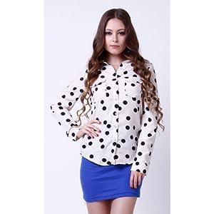 Polka dot double pocket shirt